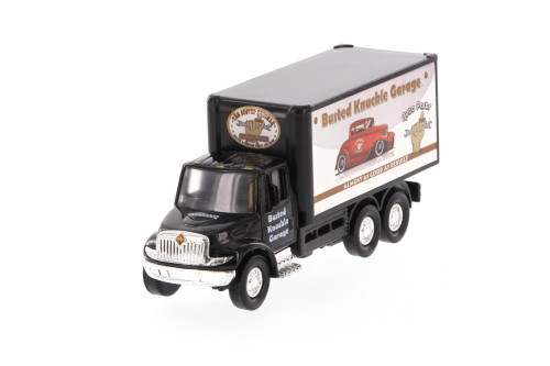 International Busted Knuckle Garage Delivery Box Truck, Black - Showcasts 2112BKG-1 - 5.25 Inch Scale Diecast Model Replica (Brand New, but NOT IN BOX)