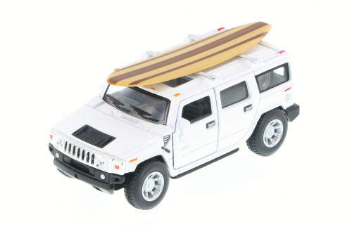 2005 Hummer H2 SUT w/ Surfboard, White - Kinsmart 5337-97DS - 1/40 Scale Diecast Model Toy Car (Brand New, but NOT IN BOX)
