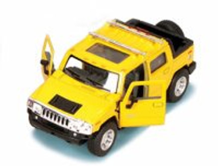 2005 Hummer H2 SUT Pickup Truck, Yellow - Kinsmart 5097D - 1/40 scale Diecast Model Toy Car (Brand New, but NOT IN BOX)