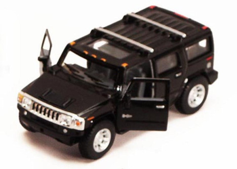 2008 Hummer H2 SUV, Black - Kinsmart 5337D - 1/40 scale Diecast Model Toy Car (Brand New, but NOT IN BOX)