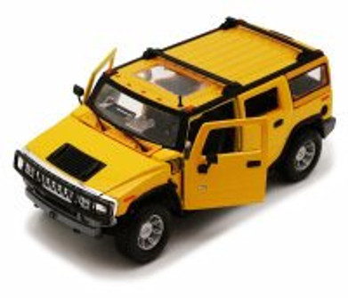 2003 Hummer H2 SUV w/ Sunroof, Yellow - Maisto Special Edition 31231 - 1/27 Scale Diecast Model Toy Car