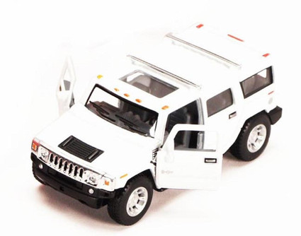2008 Hummer H2 SUV, White - Kinsmart 5337D - 1/40 scale Diecast Model Toy Car (Brand New, but NOT IN BOX)