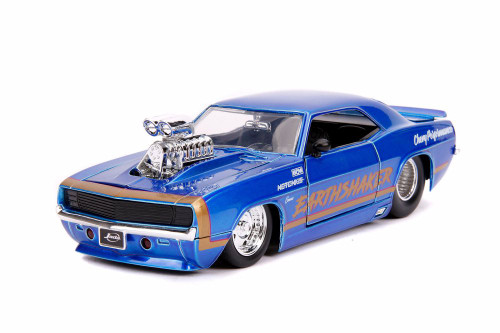 1969 Chevy Camaro with Engine Blower, Candy Blue - Jada 31323/4 - 1/24 scale Diecast Model Toy Car