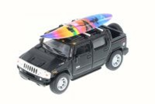 2005 Hummer H2 SUT w/ Surfboard, Black - Kinsmart 5337-97DS - 1/40 Scale Diecast Model Toy Car (Brand New, but NOT IN BOX)