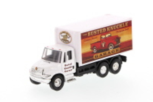 International Busted Knuckle Garage Delivery Box Truck, White - Showcasts 2112BKG-1 - 5.25 Inch Scale Diecast Model Replica