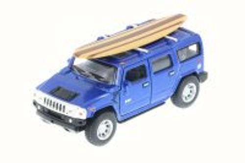 2005 Hummer H2 SUT w/ Surfboard, Blue - Kinsmart 5337-97DS - 1/40 Scale Diecast Model Toy Car (Brand New, but NOT IN BOX)