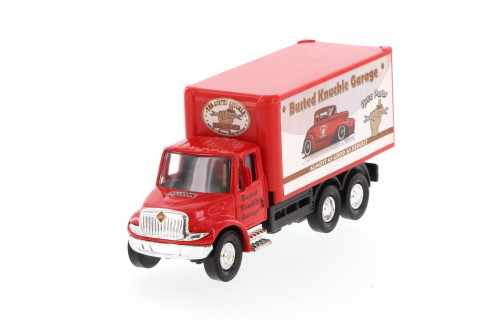 International Busted Knuckle Garage Delivery Box Truck, Red - Showcasts 2112BKG-1 - 5.25 Inch Scale Diecast Model Replica (Brand New, but NOT IN BOX)