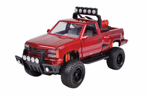 1992 GMC Sierra GT Pickup Truck, Red - Motor Max 79136R - 1/24 scale Diecast Model Toy Car