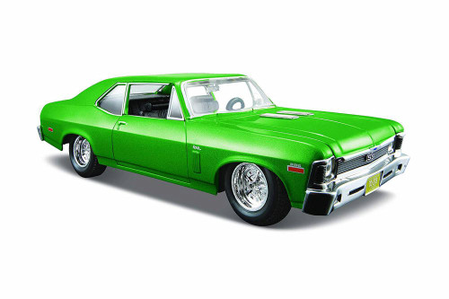 1970 Chevy Nova SS Coupe Hardtop, Green - Maisto 31262GN - 1/24 scale Diecast Model Toy Car