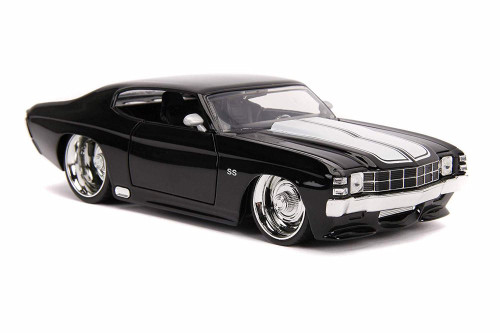 1971 Chevy Chevelle SS, Glossy Black and White - Jada 31653 - 1/24 scale Diecast Model Toy Car