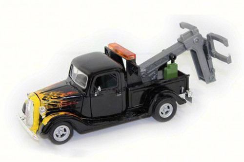 1937 Ford Pickup Tow Truck, Black w/Flames - Motor Max 75341AC - 1/24 Scale Diecast Model Toy Car