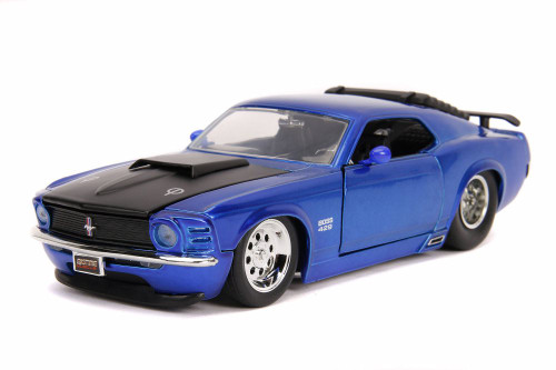 1970 Ford Mustang Boss 429 Hard Top, Blue - Jada 31649DP1 - 1/24 scale Diecast Model Toy Car