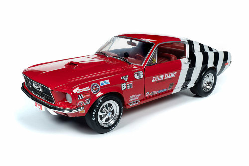 1968 Ford Mustang Cobra Jet Super Stock, Sandy Elliot - Auto World AW259 - 1/18 scale Diecast Model Toy Car