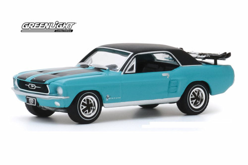 1967 Ford Mustang Coupe Ski Country Special, Winter Park Turquoise - Greenlight 30154/48 - 1/64 scale Diecast Model Toy Car