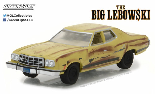 The Dude's 1973 Ford Gran Torino (The Big Lebowski), Dirty Yellow - Greenlight 86495 - 1/43 Scale Diecast Model Toy Car