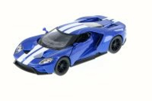 2017 Ford GT, Blue w/ Stripes - Kinsmart 5391FW - 1/38 Scale Diecast Model Toy Car