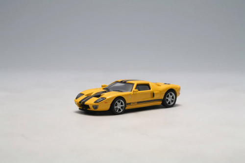 2004 Ford GT, Yellow w/ Stripes - Auto Art 20352 - 1/64 Scale Diecast Model Toy Car