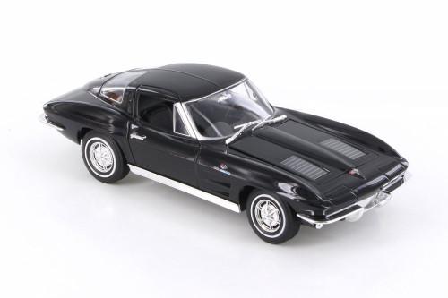1963 Chevy Corvette Hardtop, Black - Welly 24073WBK - 1/24 scale Diecast Model Toy Car