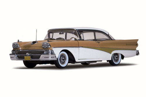 1958 Ford Fairlane 500 Hard Top, White/Palomino Tan - Sun Star 5284 - 1/18 Scale Diecast Model Toy Car
