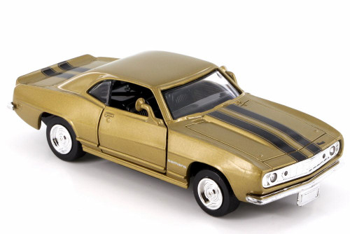1967 Chevy Camaro Z-28, Aztec Bronze w/ Black Stripes - New Ray 50461 - 1/32 Scale Diecast Model Toy Car