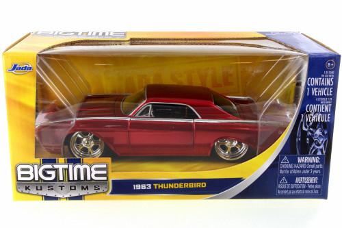 1963 Ford Thunderbird, Metallic Red - JADA 90361 - 1/24 Scale Diecast Model Toy Car