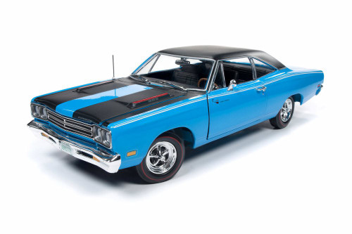 1969 Plymouth Road Runner Hardtop, Petty Blue with Black - Auto World AMM1184 - 1/18 Scale Diecast Model Toy Car