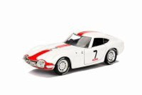 1967 Toyota 2000 GT Hard Top, White with a red stripe - Jada 30374WA1 - 1/32 scale Diecast Model Toy Car