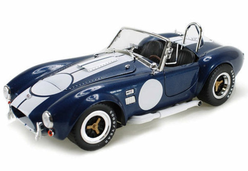 1965 Shelby Cobra 427 S/C Convertible Carroll Shelby, Blue w/ White Stripes - Shelby  SC121-1 - 1/18 Scale Diecast Model Toy Car