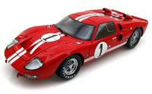 1966 Ford GT-40 MK II #1, Red w/ White Stripes - Shelby  SC407 - 1/18 Scale Diecast Model Toy Car