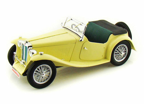 1947 MG TC Midget Convertible, Yellow - Yatming 92468 - 1/18 Scale Diecast Model Toy Car