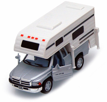 Dodge Ram Pickup w/ Camper, Gray - Kinsmart 5503D - 1/46 scale Diecast Model Toy Car (Brand New, but NOT IN BOX)
