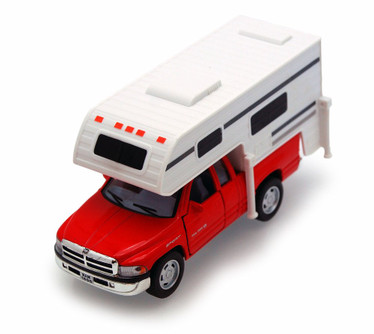 Dodge Ram Pickup w/ Camper, Red - Kinsmart 5503D - 1/46 scale Diecast Model Toy Car (Brand New, but NOT IN BOX)