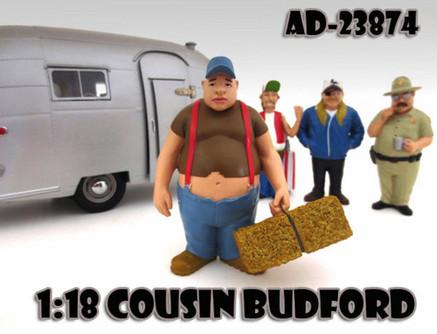 Trailer Park Figures Series 1 Cousin Budford, American Diorama Figurine 23874 - 1/18 scale