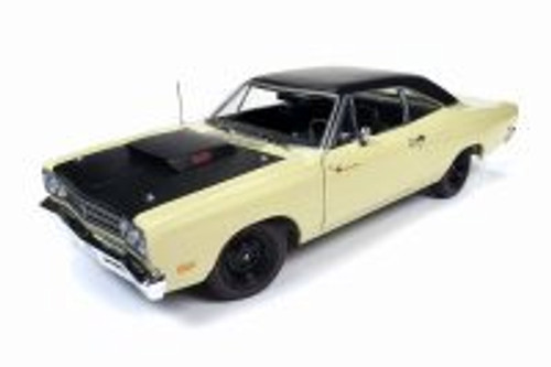 1969.5 Plymouth Road Runner Hard Top, Sunfire Yellow and Black - Auto World AMM1179 - 1/18 scale Diecast Model Toy Car