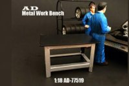 Metal Work Bench, American Diorama 77519 - 1/18 Scale Accessory for Diecast Cars