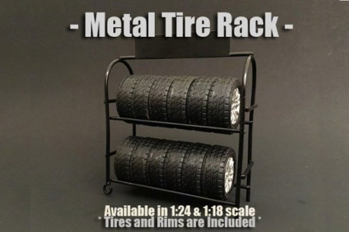 Metal Tire Rack, American Diorama 77530 - 1/24 Scale Accessory for Diecast Cars