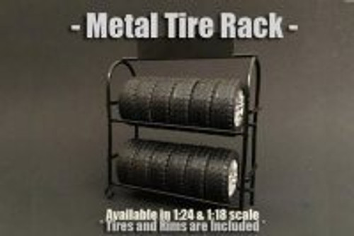 Metal Tire Rack, American Diorama 77518 - 1/18 Scale Accessory for Diecast Cars