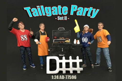 Four Figure Tailgate and Barbeque Set - American Diorama 77596 - 1/24 Scale Diecast Model Toy Car