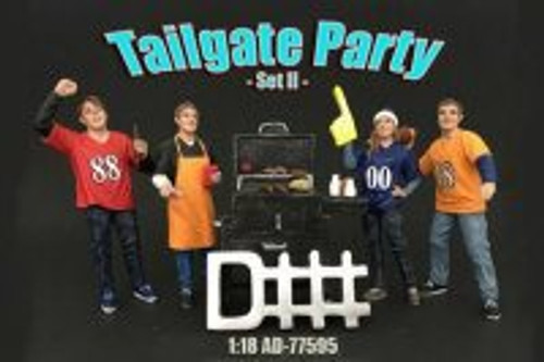 Four Figure Tailgate and Barbeque Set - American Diorama 77595 - 1/18 Scale Diecast Model Toy Car