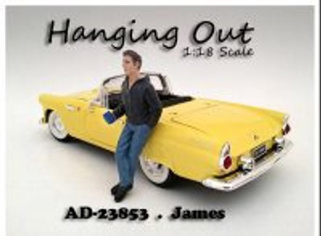 Hanging Out James Figure, black with blue - American Diorama Figurine 23853 - 1/18 scale