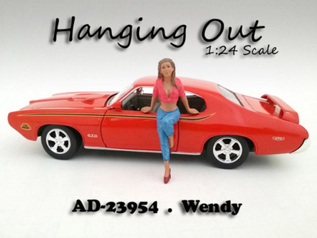 Hanging Out Wendy Figure, Pink - American Diorama 23954 - 1/24 Scale Diecast Hobby Accessory