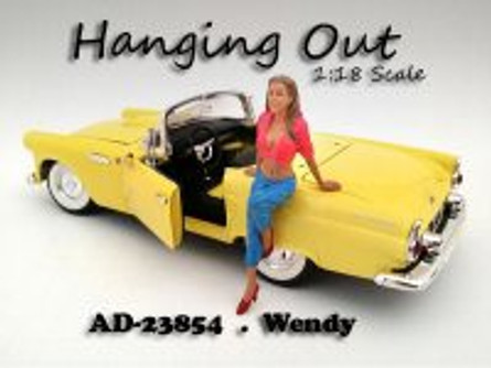 Hanging Out Wendy Figure, pink with blue - American Diorama Figurine 23854 - 1/18 scale