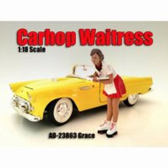 Carhop Waitress Grace Figurine, American Diorama 23864 - 1/18 Scale Hobby Accessory