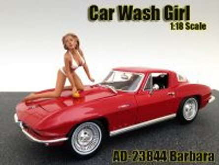 Car Wash Girl Barbara Figure, White - American Diorama Figurine 23844 - 1/18 scale