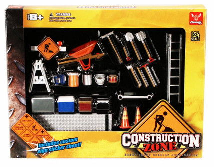 Construction Zone - Phoenix Garage Diorama Accessory Set 18425 - 1/24 scale diecast car diorama accessory