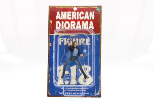 Biker Angel 1:18 scale female figure, Black & Blue Attire - American Diorama 23868 - 1/18 Scale Diorama Accessory