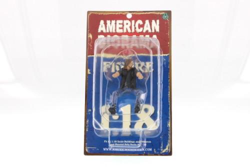 Biker Ace 1:18 scale male figure, Black & Blue Attire - American Diorama 23865 - 1/18 Scale Diorama Accessory
