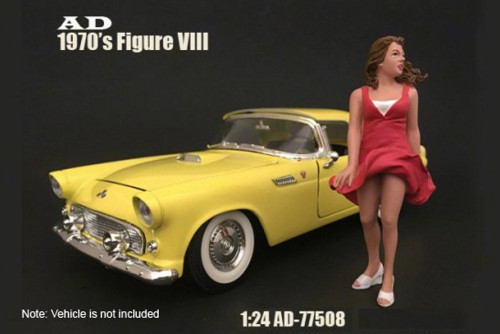70s Style Figure - VIII, American Diorama 77508 - 1/24 Scale Accessory for Diecast Cars