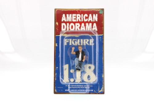 1:18 scale Biker Motorman, Black & Blue Attire - American Diorama 23867 - 1/18 Scale Diorama Accessory