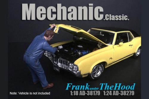 Mechanic Classic Frank Under the Hood, Blue - American Diorama 38179 - 1/18 scale Figurine - Diorama Accessory